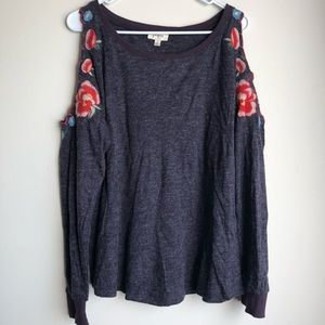 Umgee Purple Cold Shoulder Embroidered Sweater